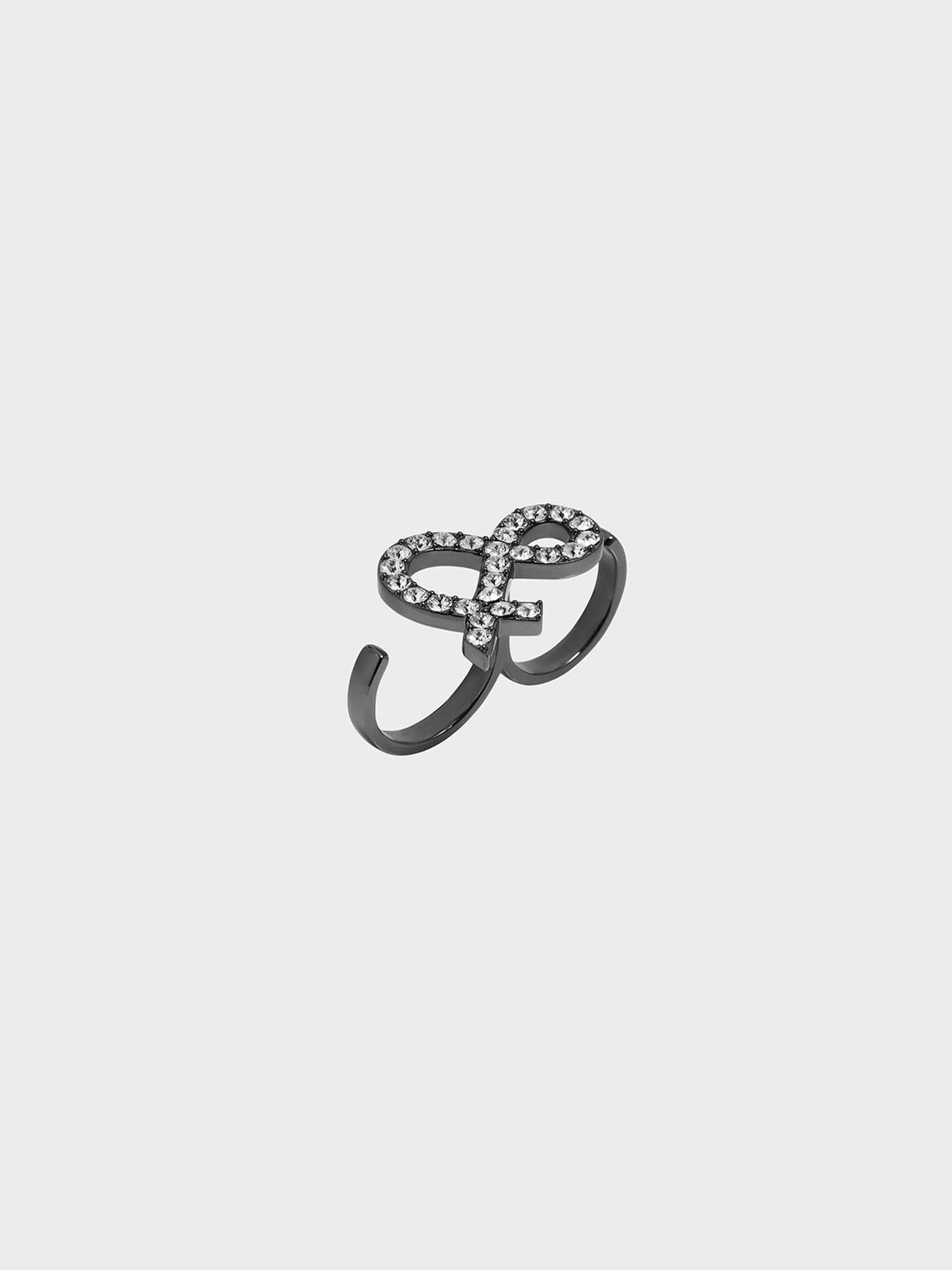 Crystal Encrusted Ampersand Double Ring, Black, hi-res