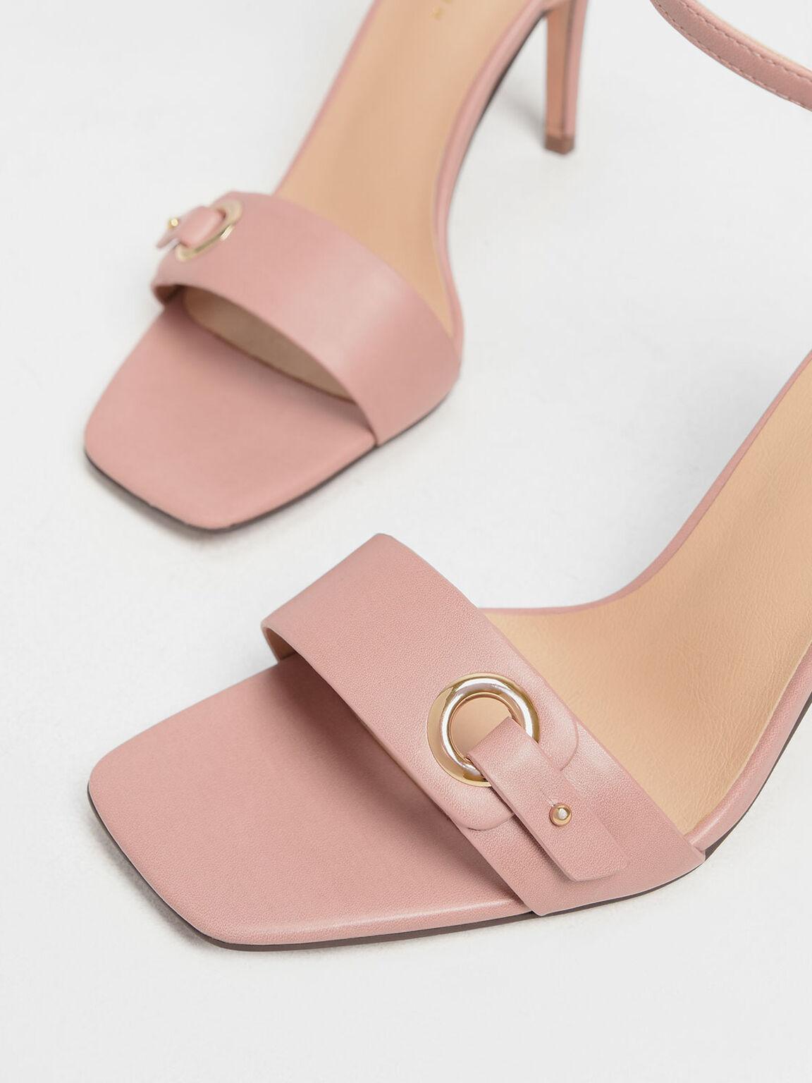 Gold Eyelet Detail Stiletto Heels, Blush, hi-res