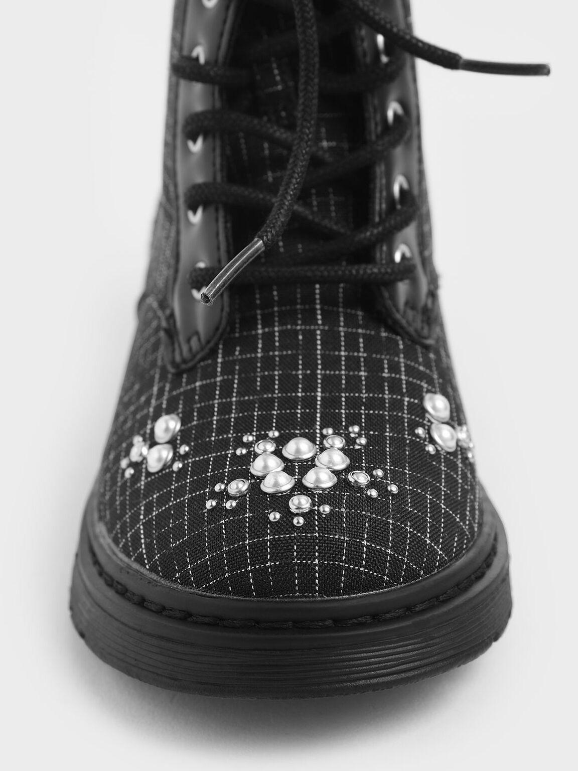 Girls' Windowpane Print Embellished Lace-up Boots, Multi, hi-res