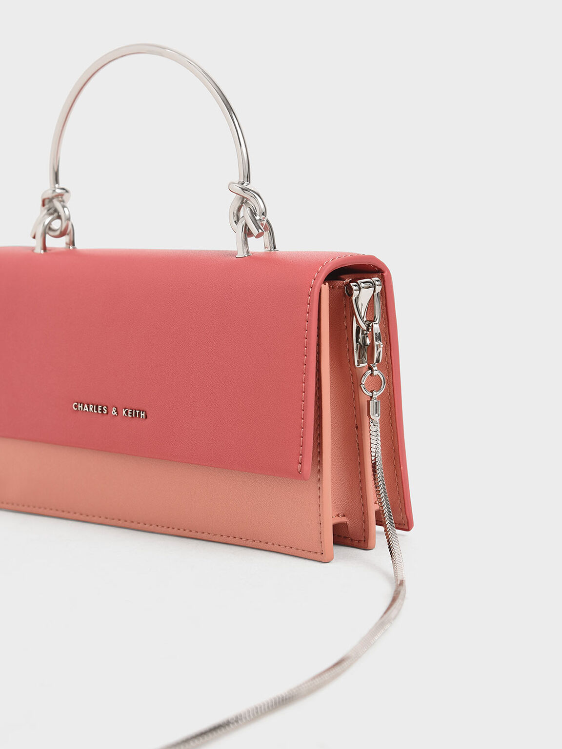 Metallic Handle Long Wallet, Pink, hi-res