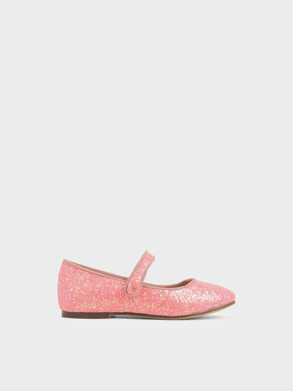 Girls' Glitter Mary Jane Flats, Pink, hi-res