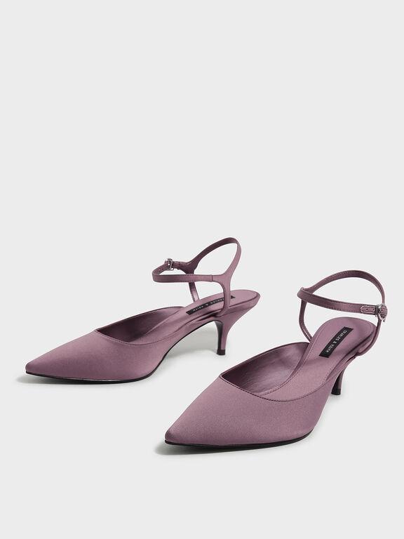 Satin Pointed Heels, Purple