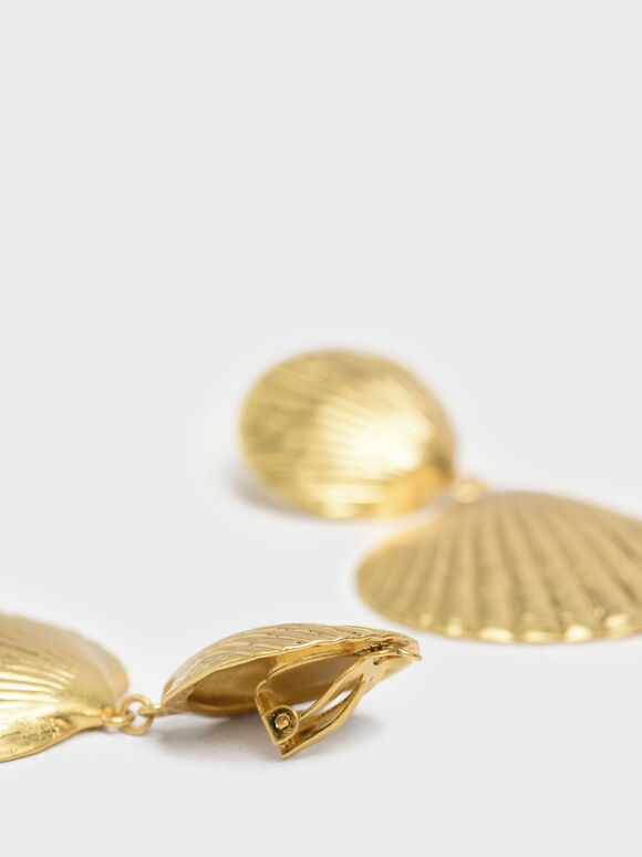 Round Seashell Drop Clip-On Earrings, Gold, hi-res
