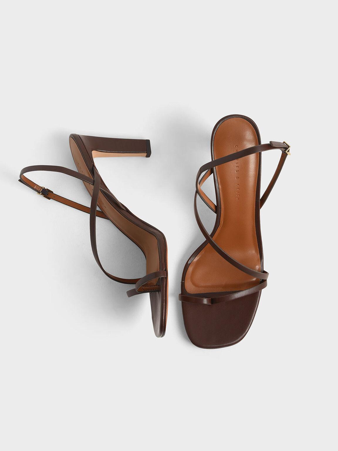 Asymmetric Strap Open Toe Sandals, Dark Brown, hi-res