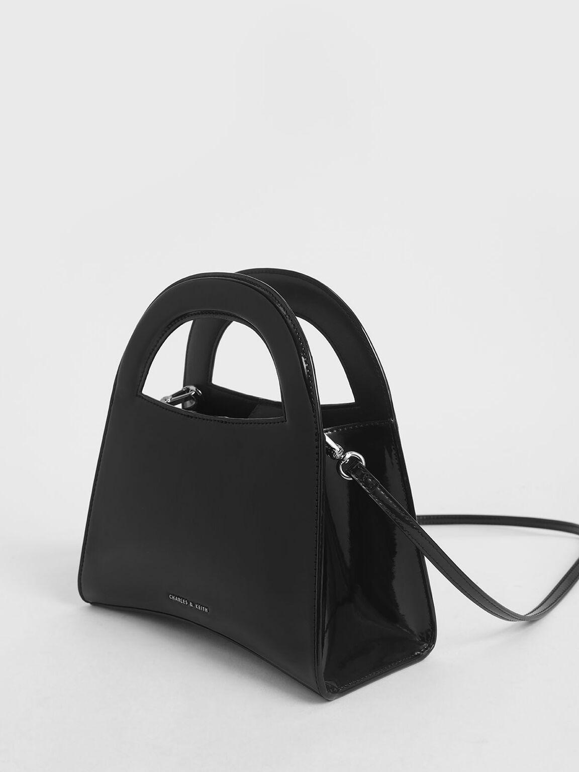 Patent Double Top Handle Handbag, Black, hi-res