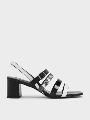 Snake Print Strappy Block Heel Slingback Sandals, Multi