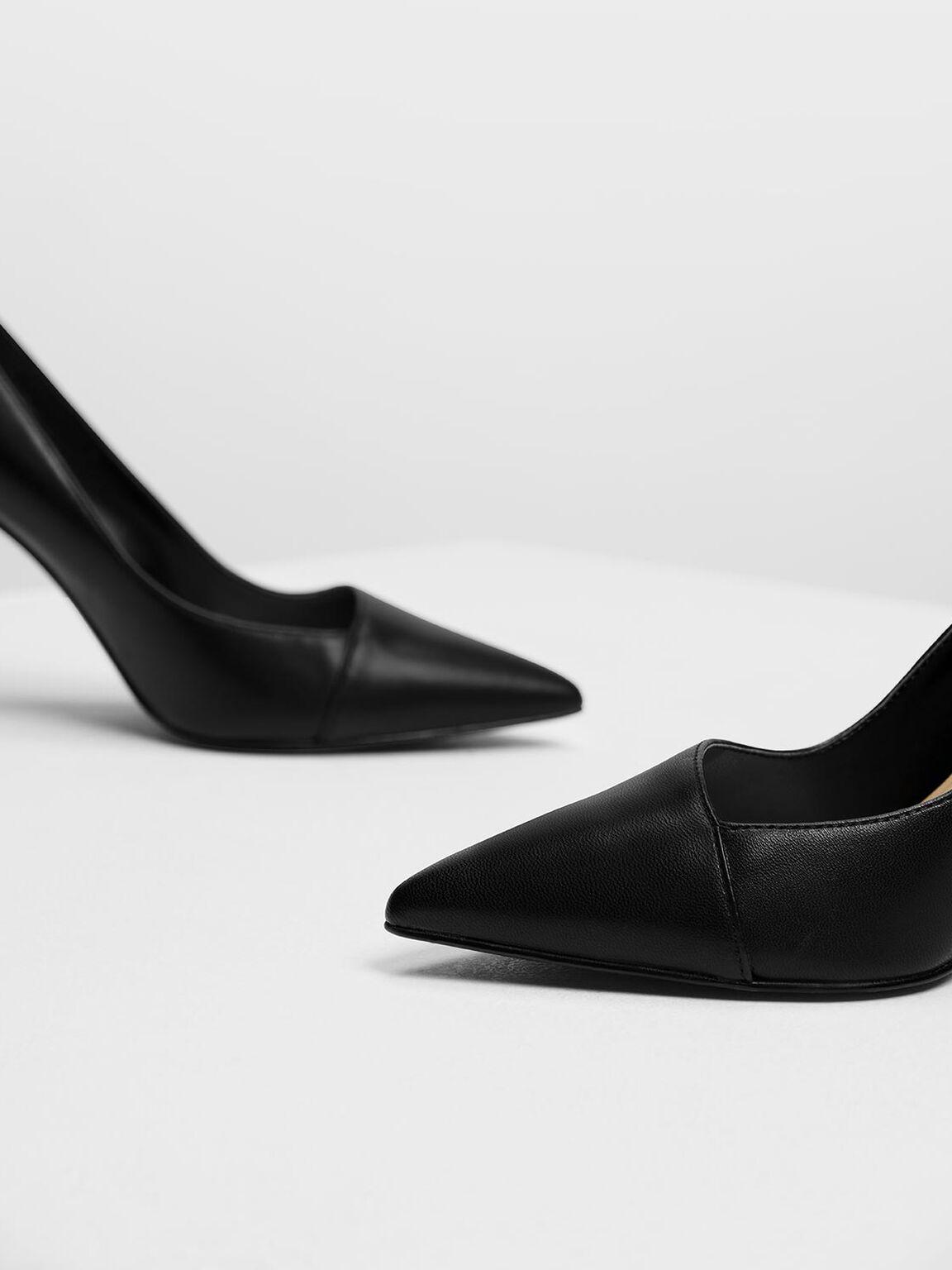 斜剪裁高跟鞋, 黑色, hi-res