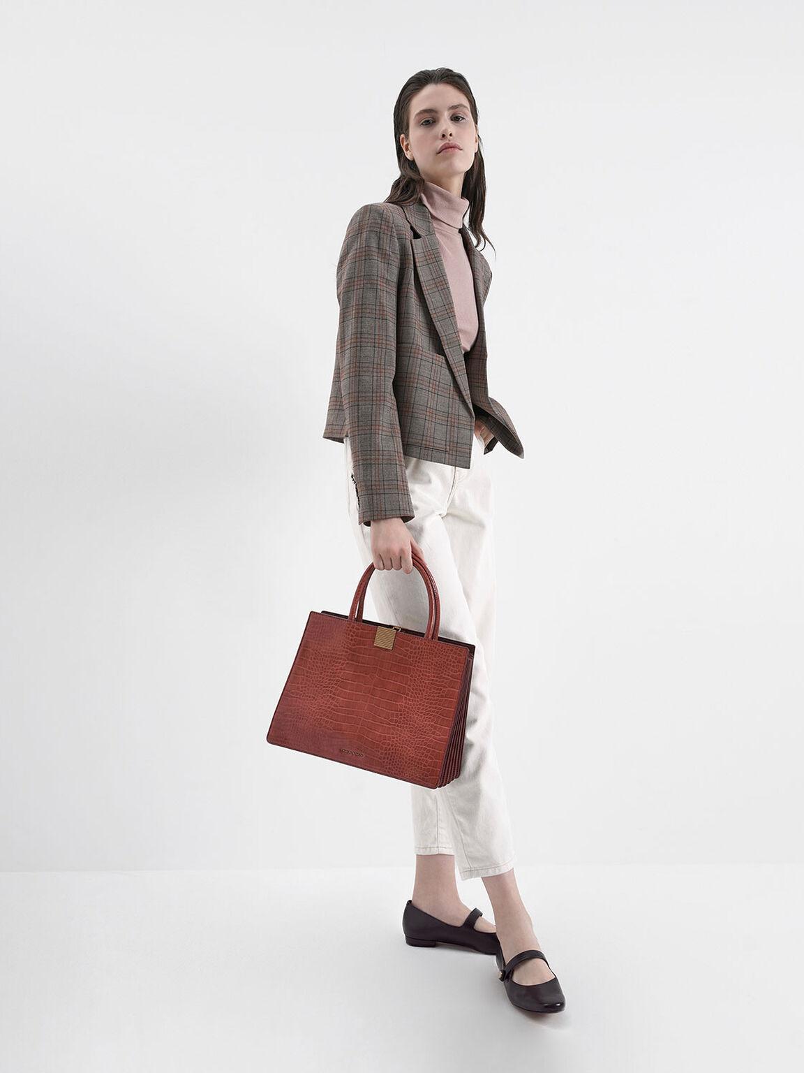 Croc-Effect Double Handle Handbag, Clay, hi-res