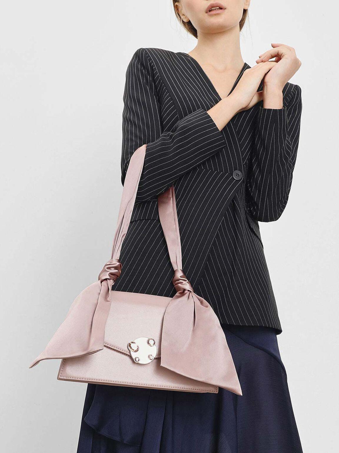 Ribbon Shoulder Bag, Nude, hi-res