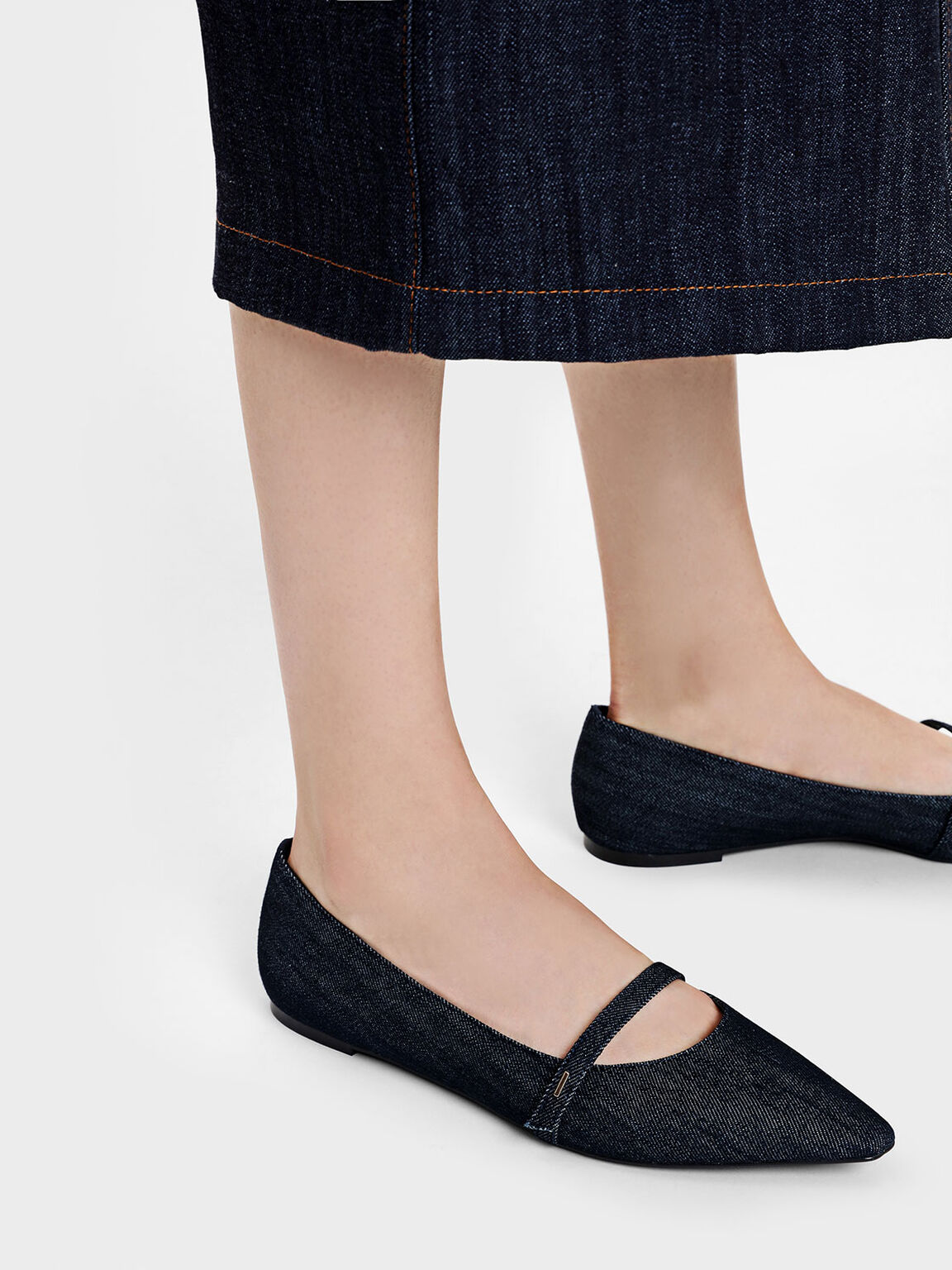 Pointed Toe Mary Janes, Blue, hi-res