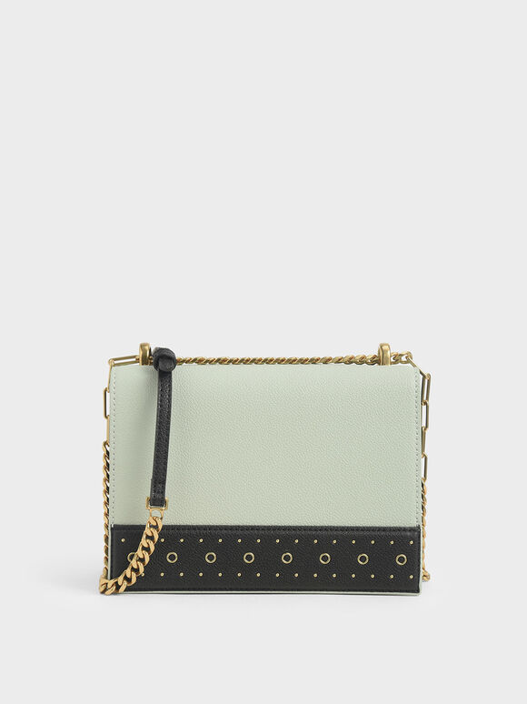 Eyelet-Embellished Crossbody Bag, Mint Green, hi-res