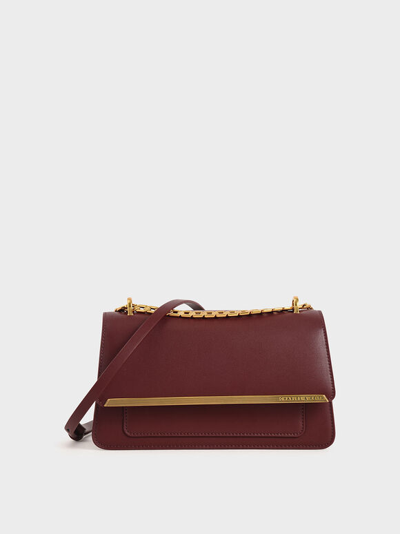 Metallic Accent Evening Clutch, Burgundy, hi-res