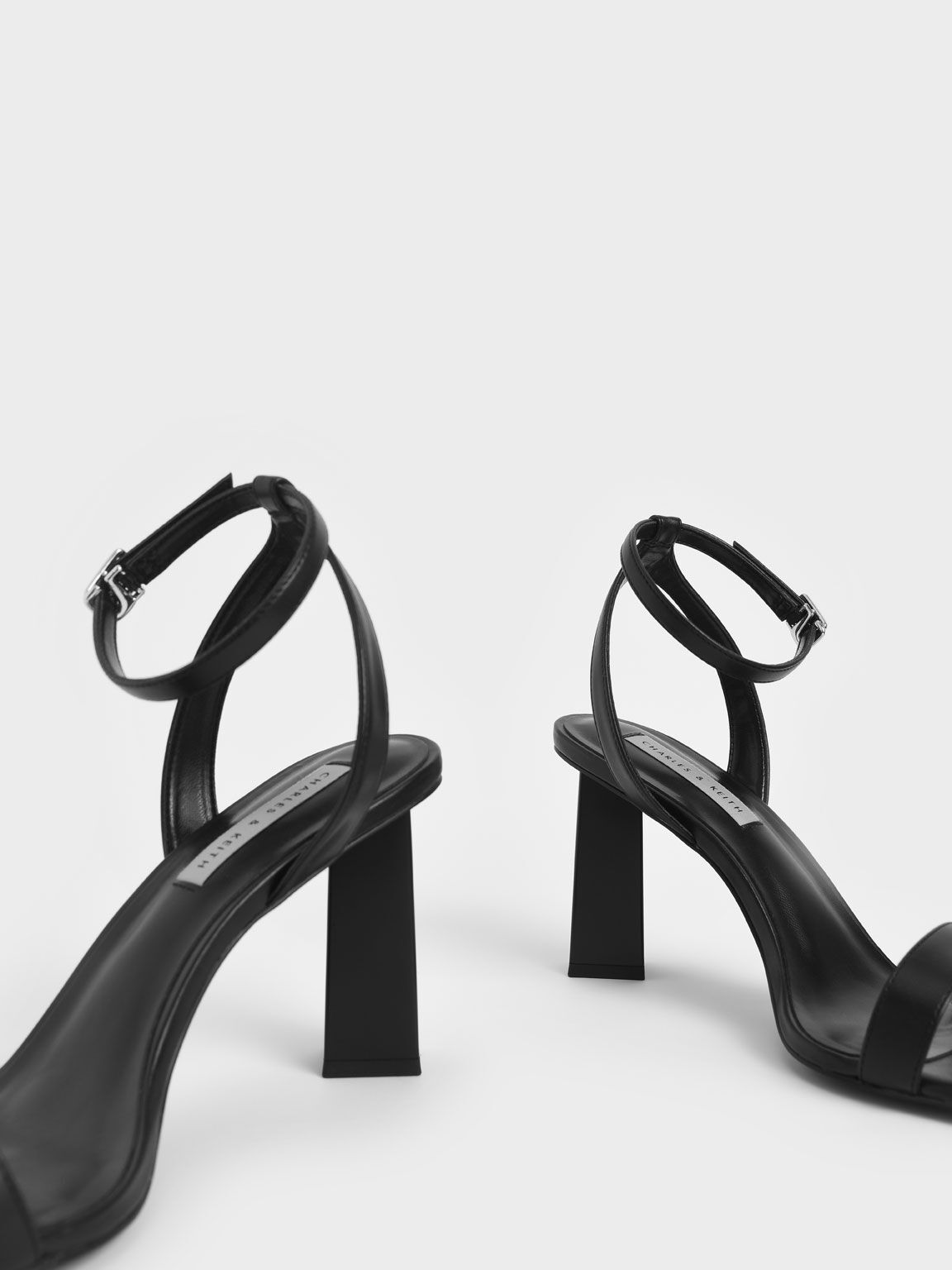 Ankle Strap Geometric Heeled Sandals, Black, hi-res