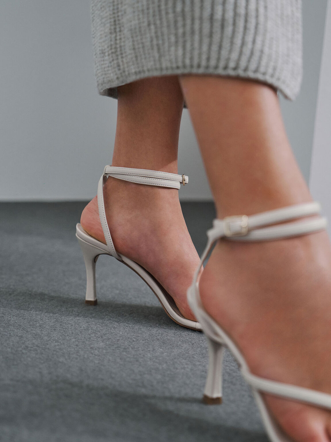 Toe Ring Heeled Sandals, Chalk, hi-res