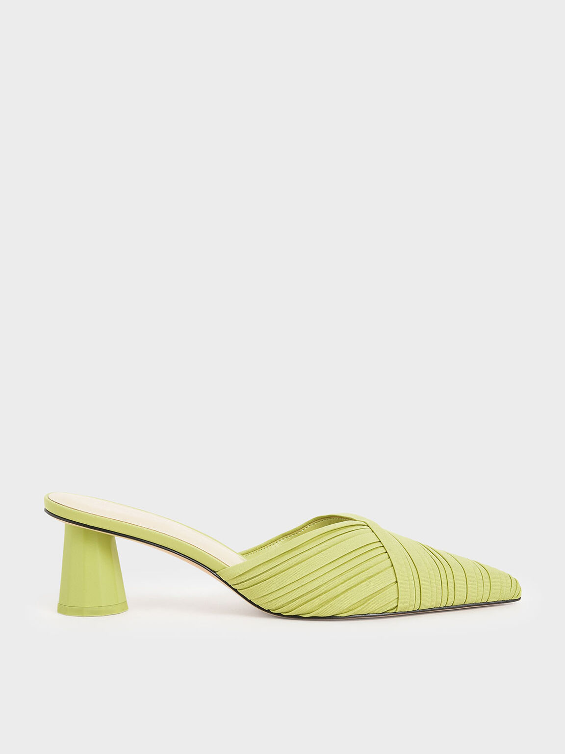 Pleated Pointed Toe Mules, Yellow, hi-res