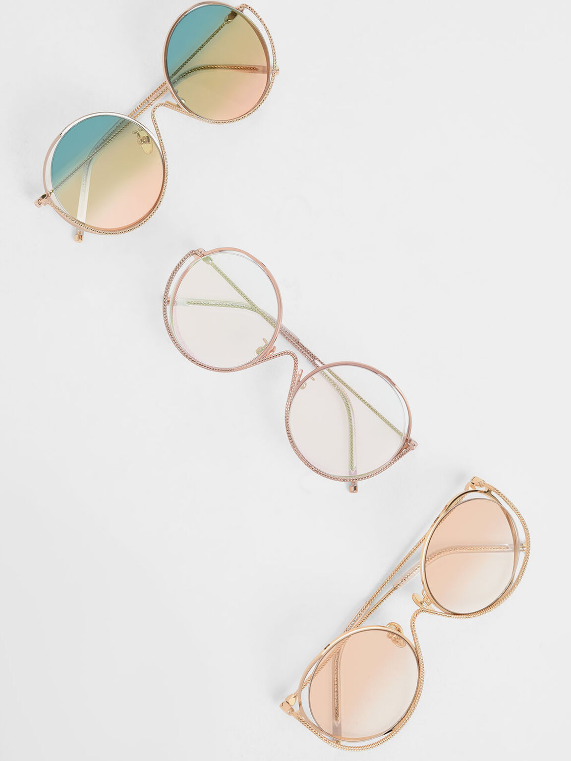 Double Rim Tinted Round Sunglasses, Pink, hi-res