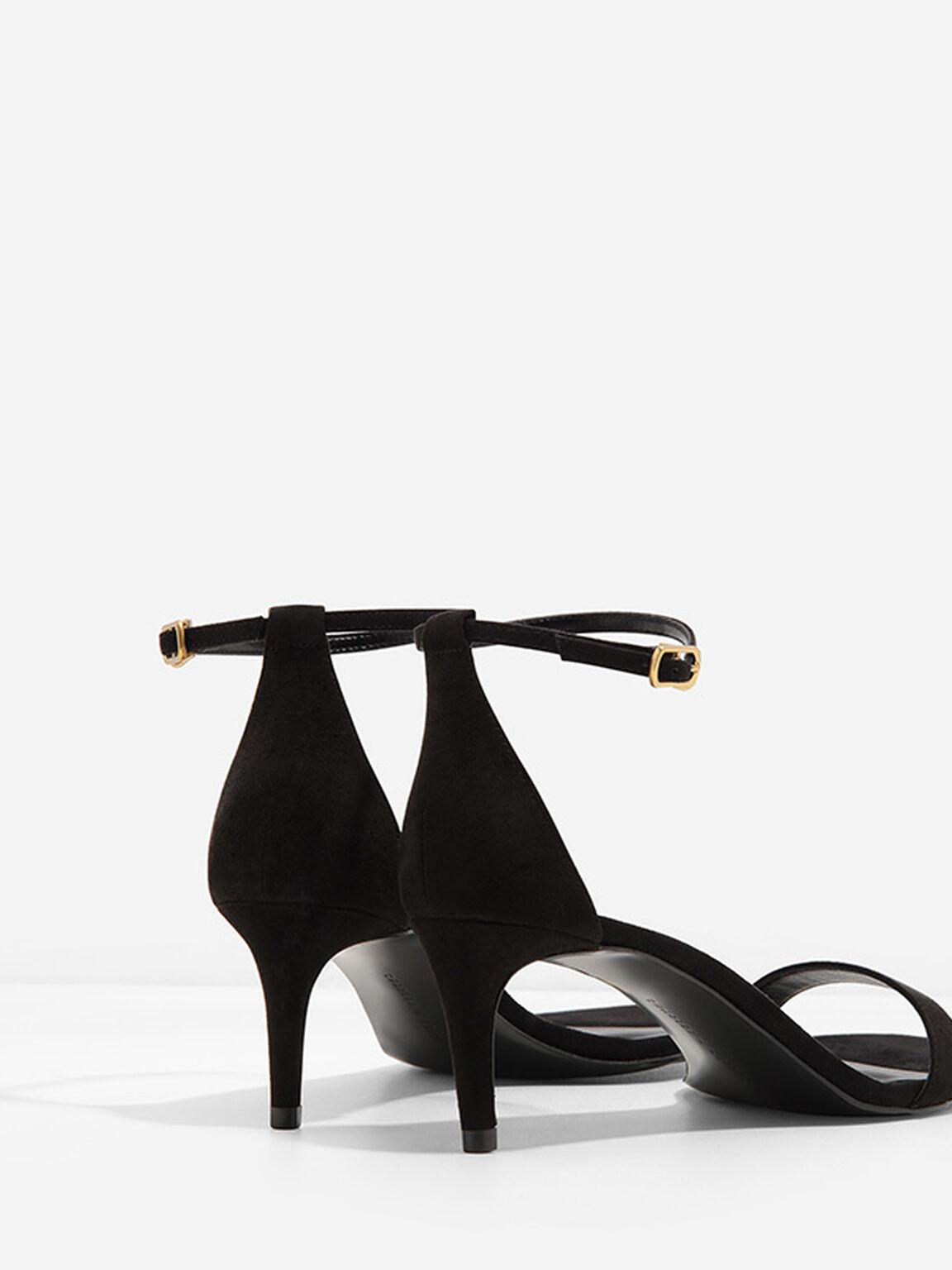 Open-Toe Ankle-Strap Heels, Black, hi-res