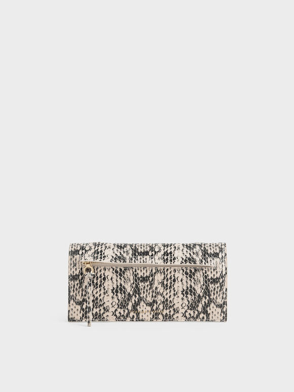 Mini Snake Print Front Zip Long Wallet, Cream, hi-res