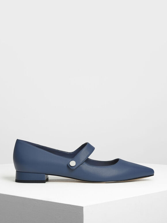 Pointed Toe Mary Janes, Dark Blue, hi-res