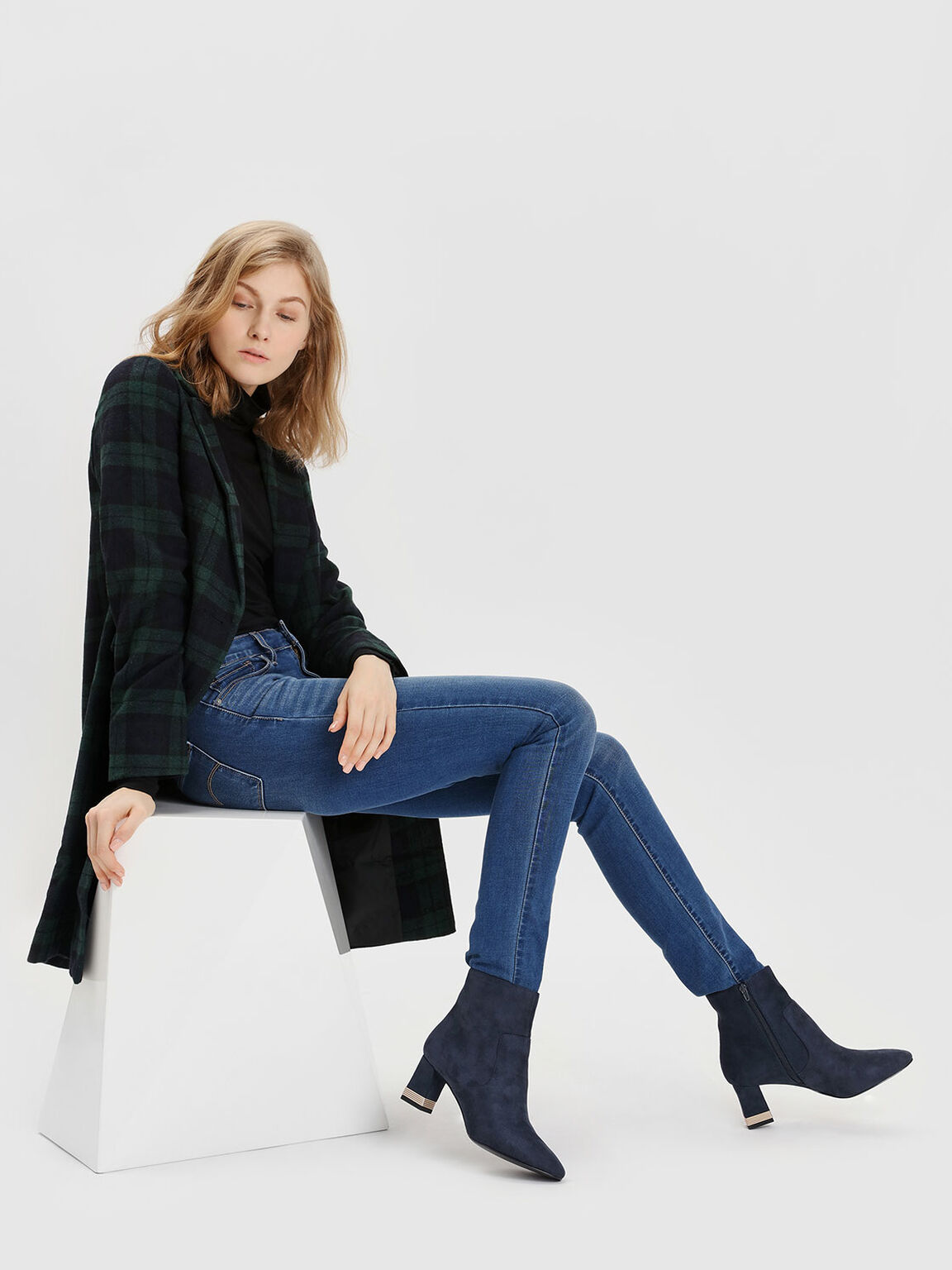 Metallic Accent Heel Boots, Dark Blue, hi-res