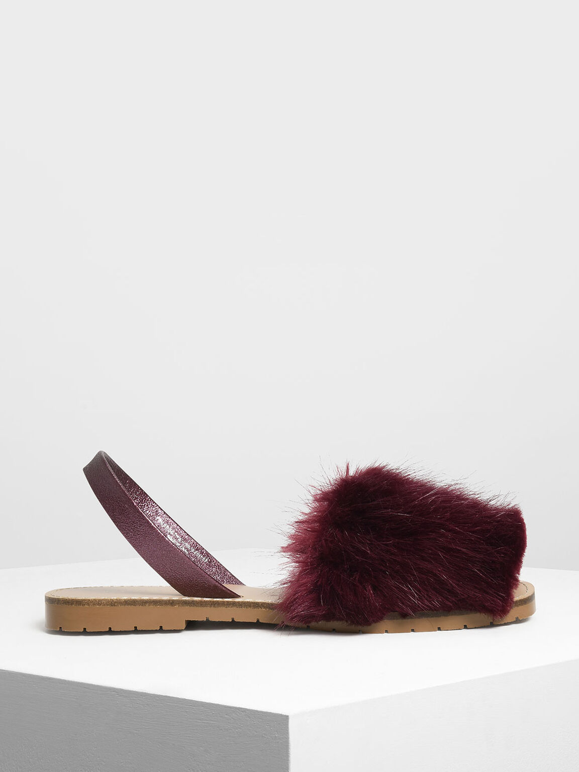 Furry Slingback Sandals, Purple, hi-res