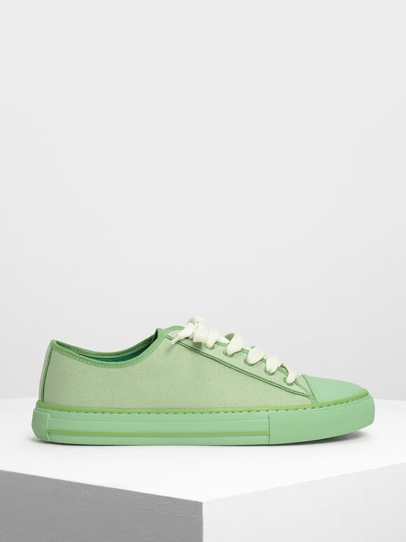 Candy Coloured Canvas Sneakers, Sage Green, hi-res