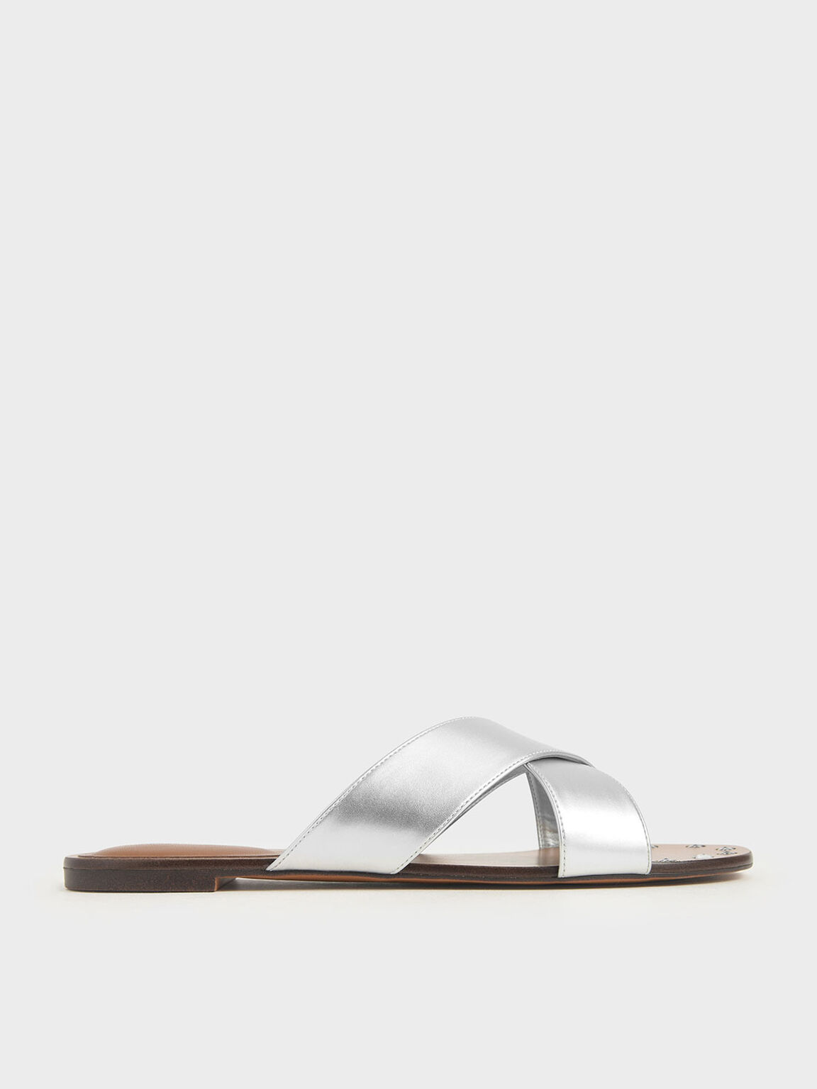 Metallic Embellished-Sole Slide Sandals, Silver, hi-res
