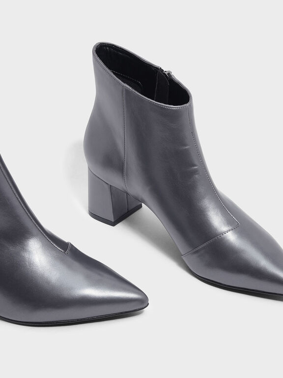 Nylon Strap Detail Pointed Boots, Pewter, hi-res