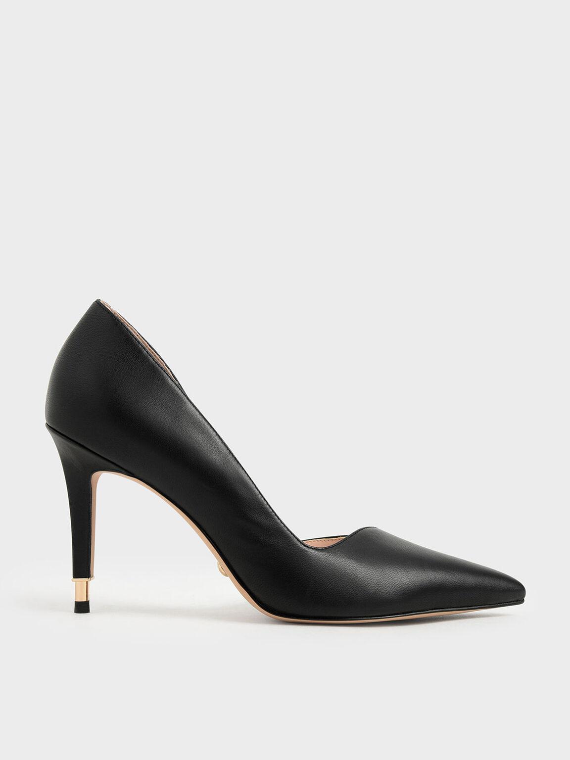 Leather D'Orsay Pumps, Black, hi-res