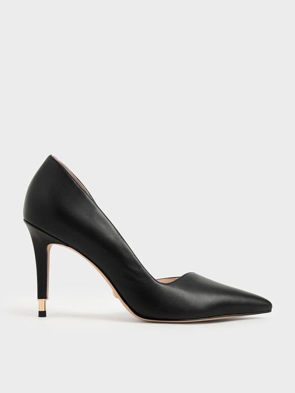 Leather D'Orsay Pumps, Black, hi-res