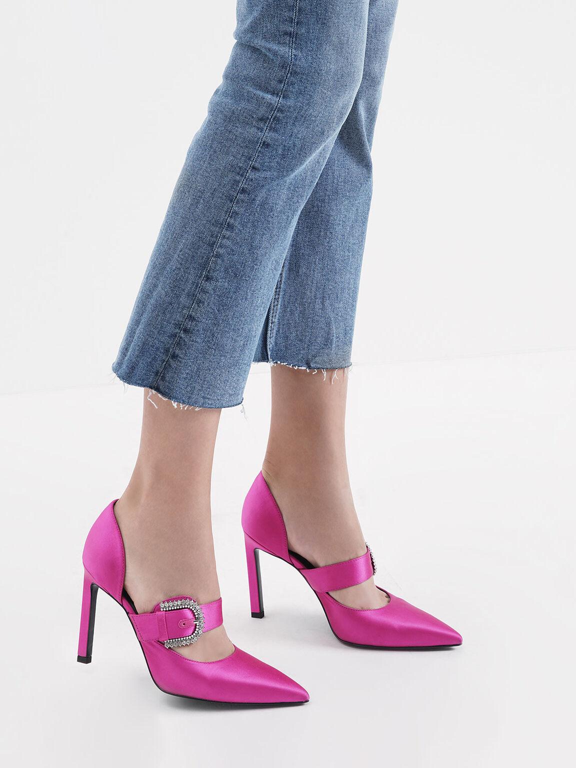 Satin Embellished Buckle Mary Jane Heels, Fuchsia, hi-res