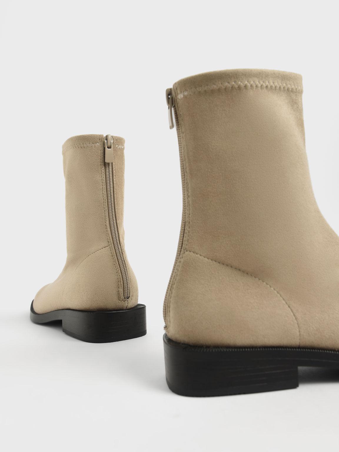 仿麂皮拉鍊短靴, 灰褐色, hi-res