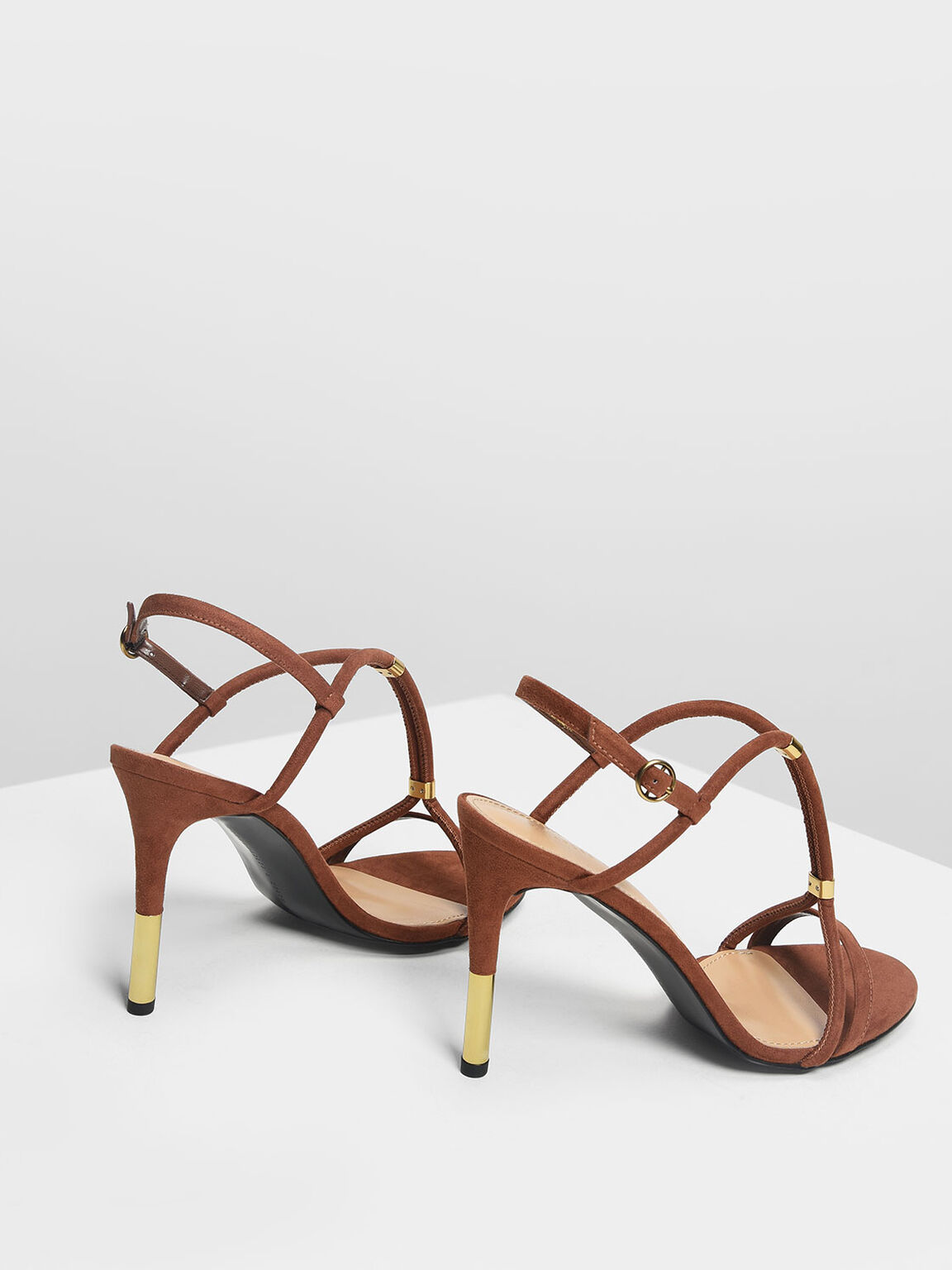 Gold Accent T-Bar Heeled Sandals, Brown, hi-res