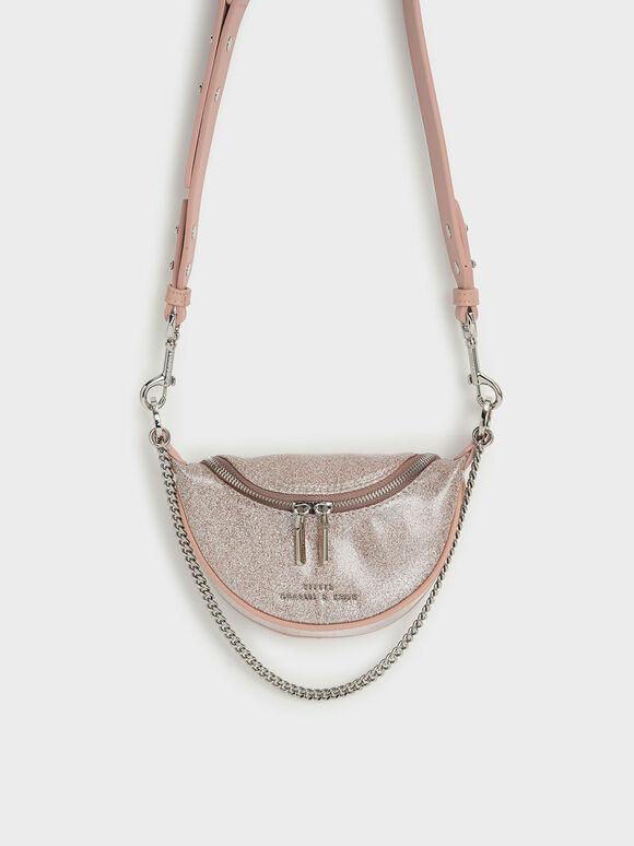 Glittered Chain-Embellished Crossbody Bag, Light Pink, hi-res