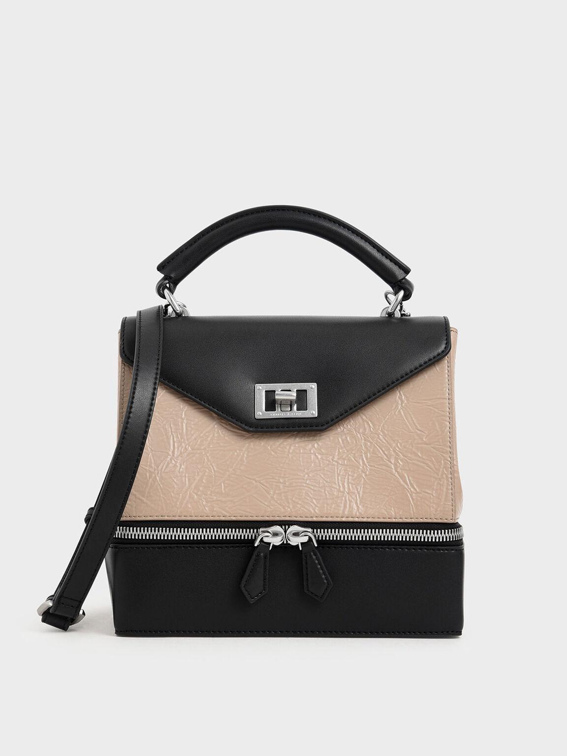 Wrinkled Effect Two-Way Zip Top Handle Bag, Beige, hi-res