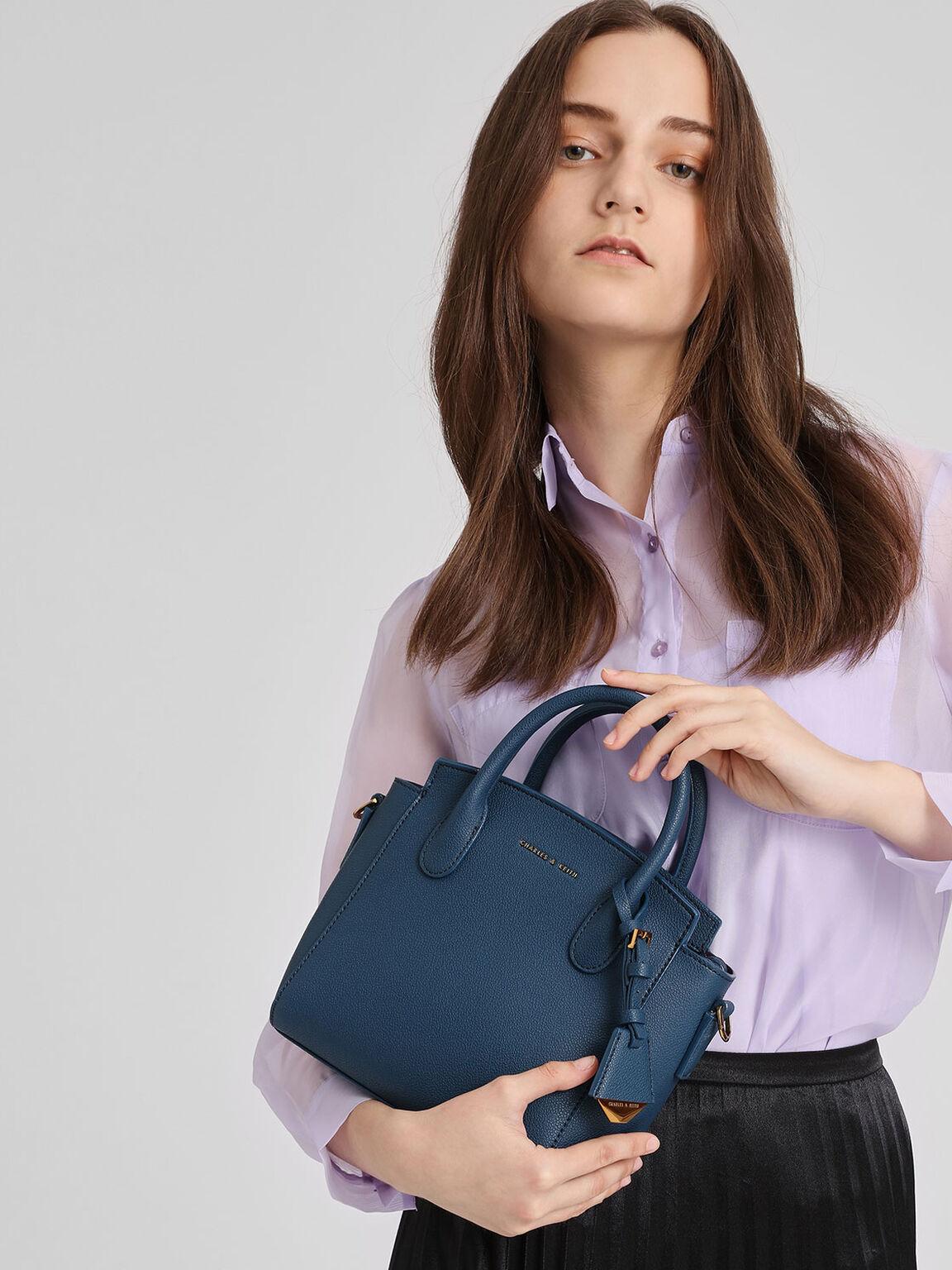 Classic Top Handle Handbag, Blue, hi-res