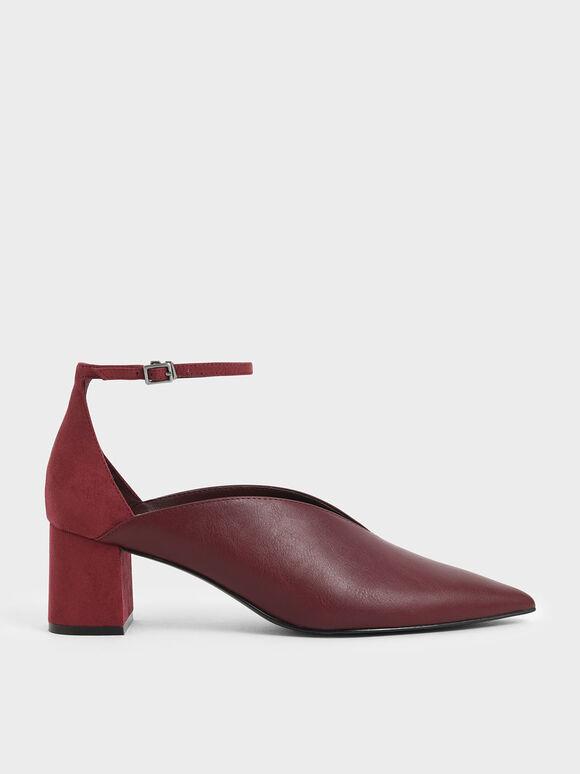 V-Cut Ankle Strap Pumps, Burgundy, hi-res