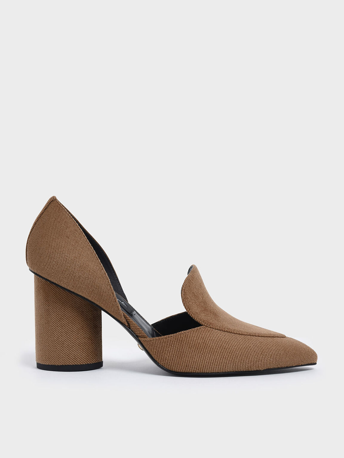 Sculptural Heel Corduroy Pumps, Camel, hi-res