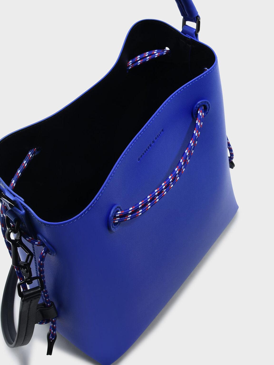 탑 핸들 버킷 백, Blue, hi-res