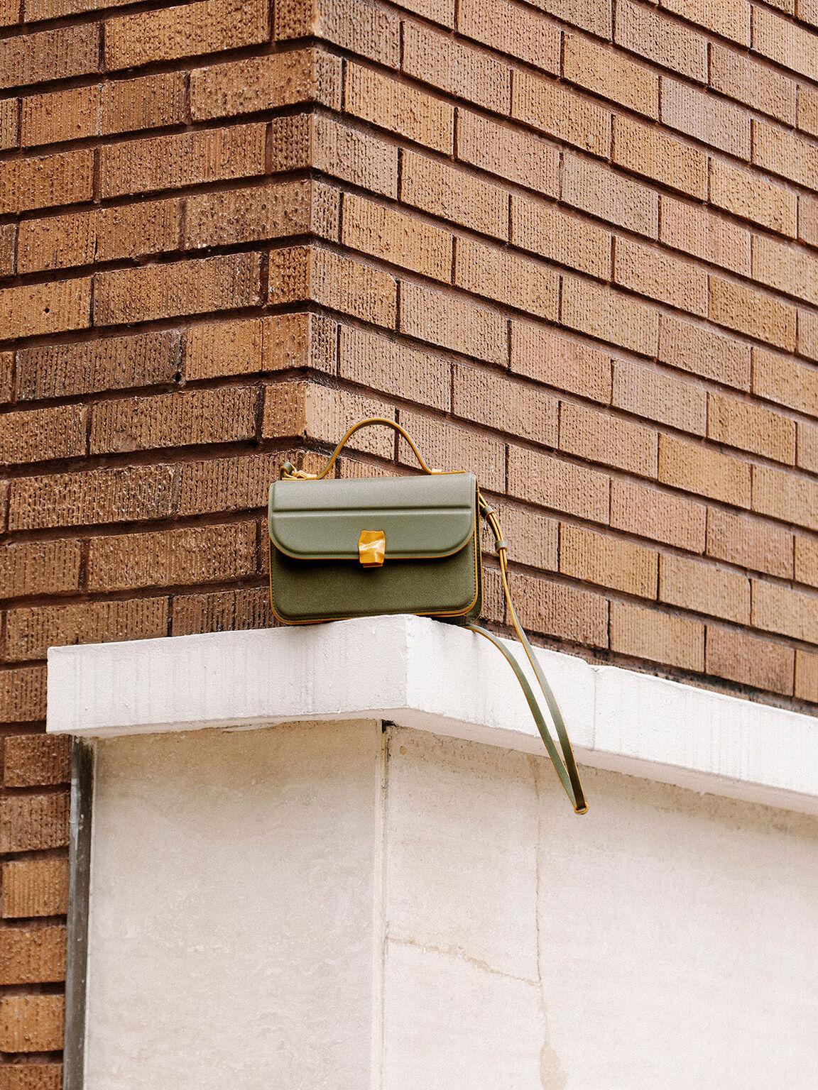 Textured Hammered Buckle Bag, Sage Green, hi-res
