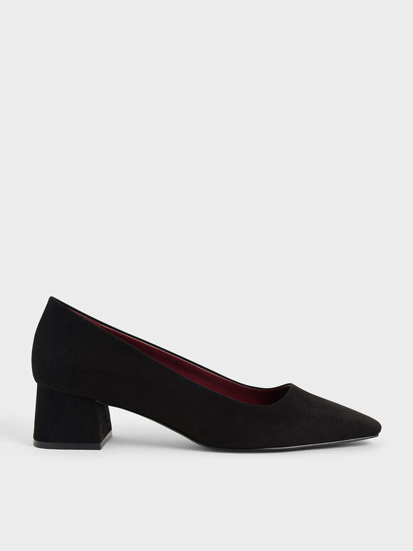 Textured Square Toe Block Heel Pumps, Black, hi-res