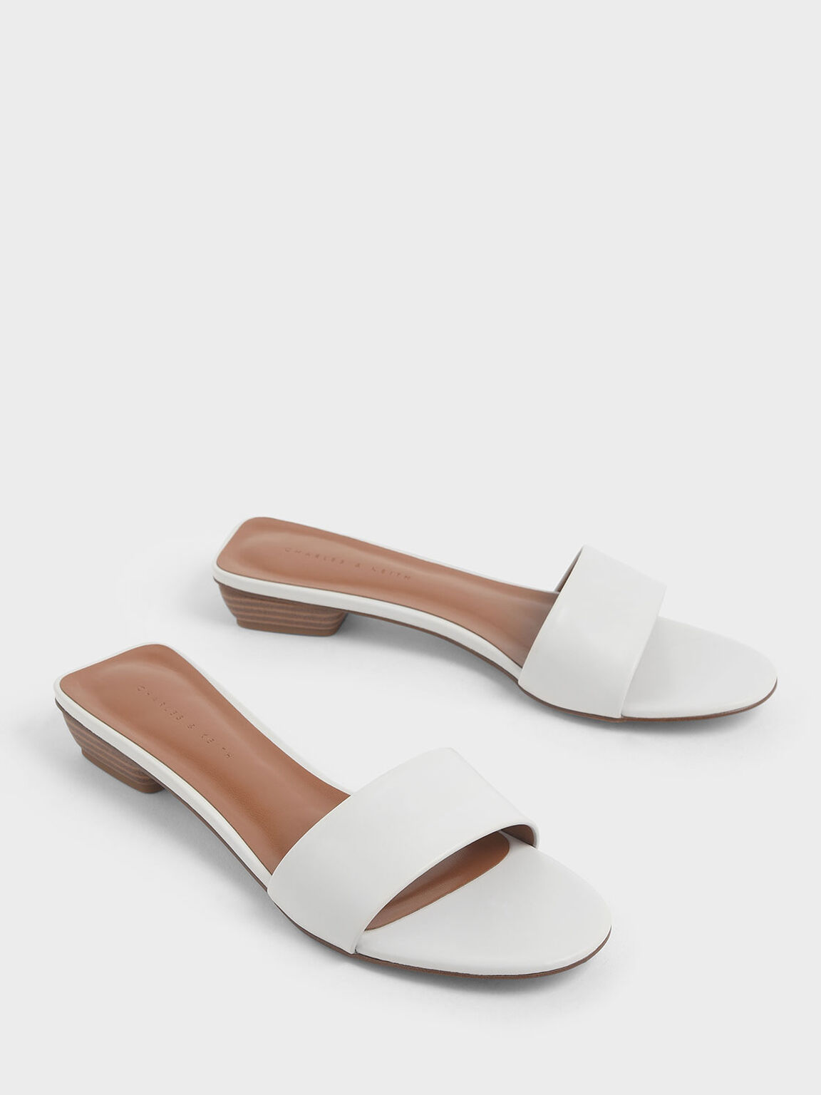 Stacked Heel Slide Sandals, White, hi-res