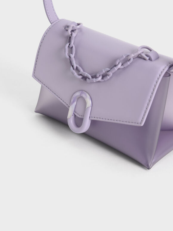 Chain Strap Envelope Crossbody Bag, Lilac, hi-res
