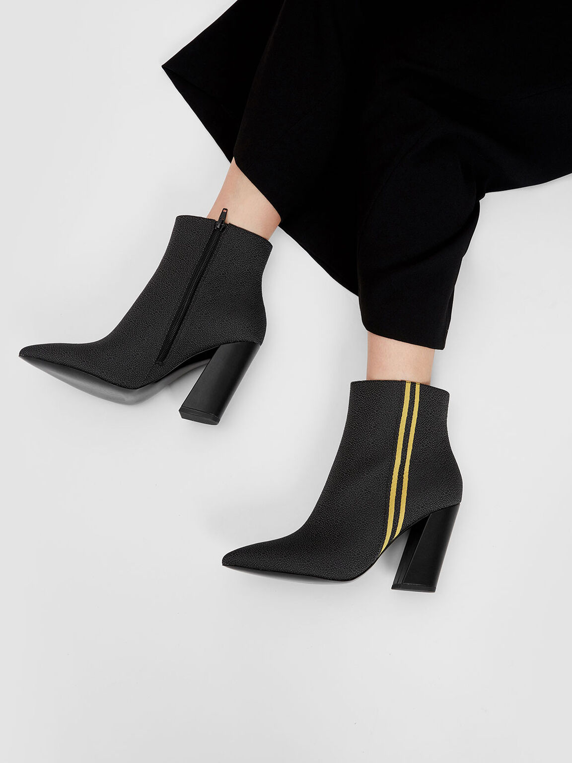 Slanted Block Heel Boots, Black, hi-res