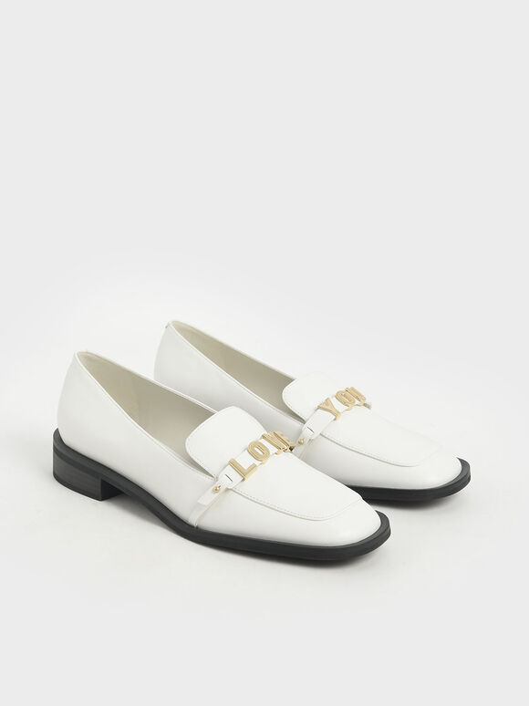 'Love You' Loafer Flats, White, hi-res