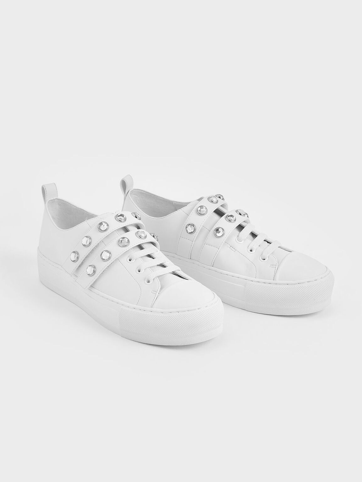 Gem-Embellished Platform Sneakers, White, hi-res