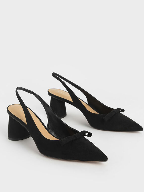 Textured Bow Slingback Pumps, Black, hi-res