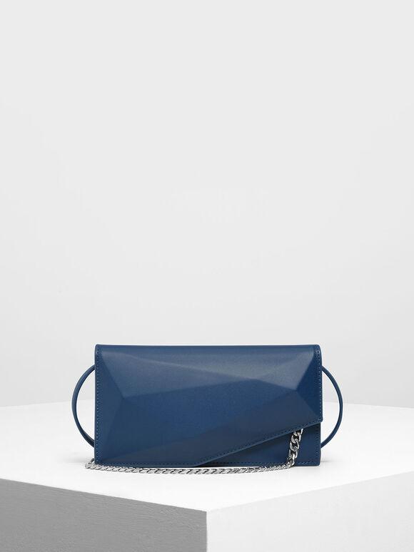 Geometric Chain Link Belt Bag, Dark Blue, hi-res