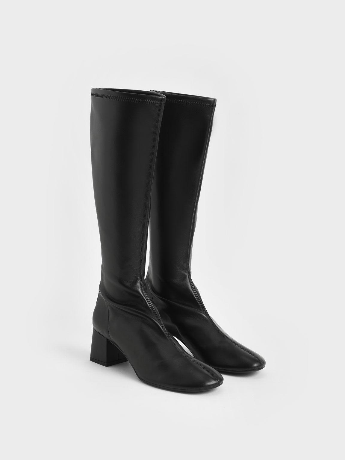 Block Heel Knee Boots, Black, hi-res