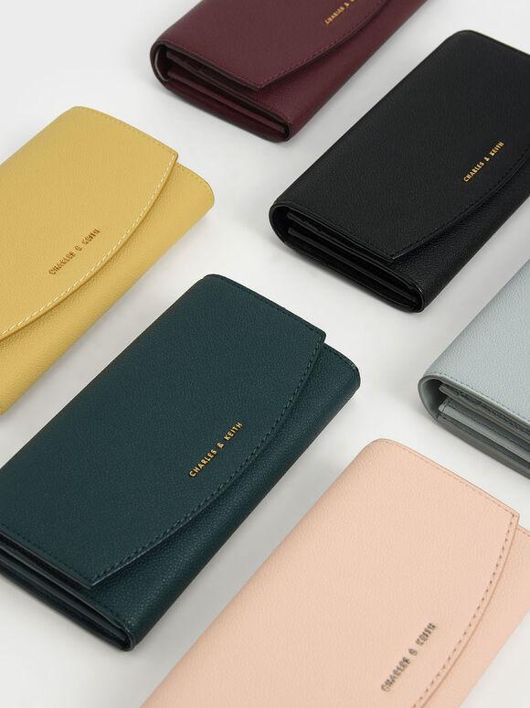 Curved Front Flap Wallet, Black, hi-res